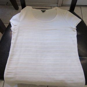 Ann Taylor Ivory scoop neck tee shirred layered M